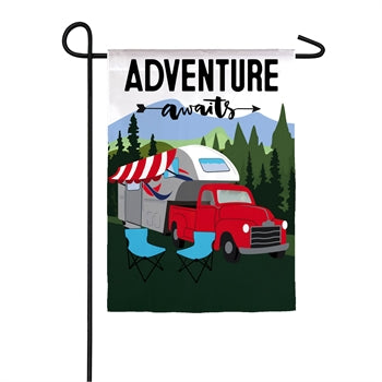 Adventure Awaits Fifth Wheel Suede Garden Flag
