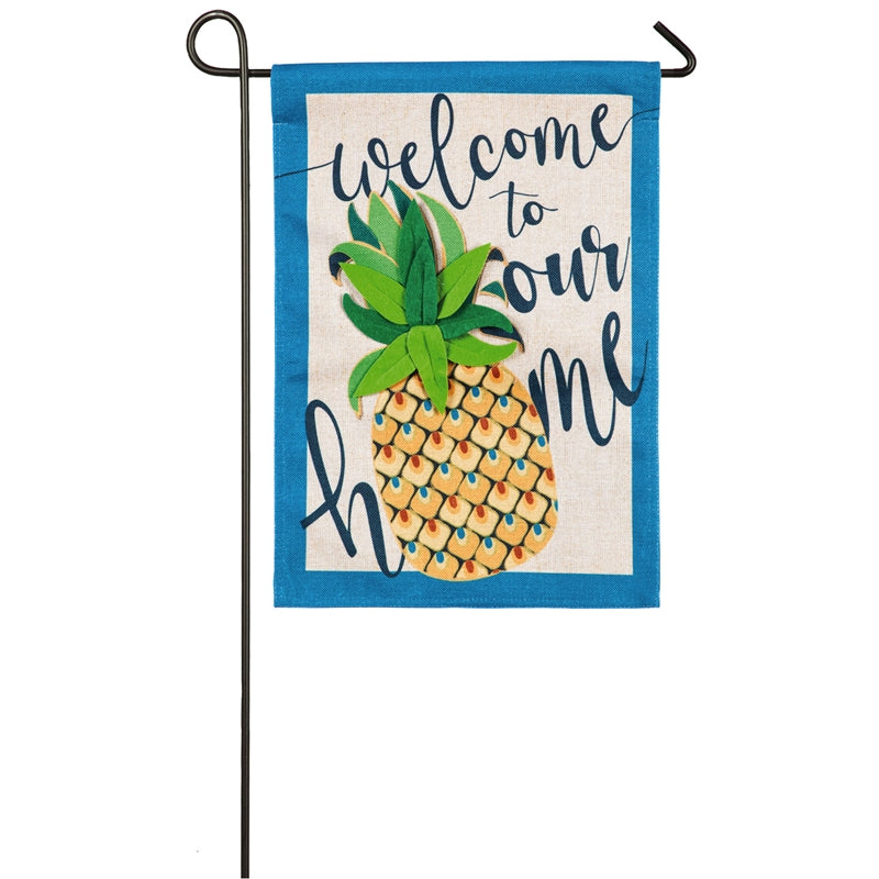 Welcome to our Home Pineapple Garden Burlap Flag