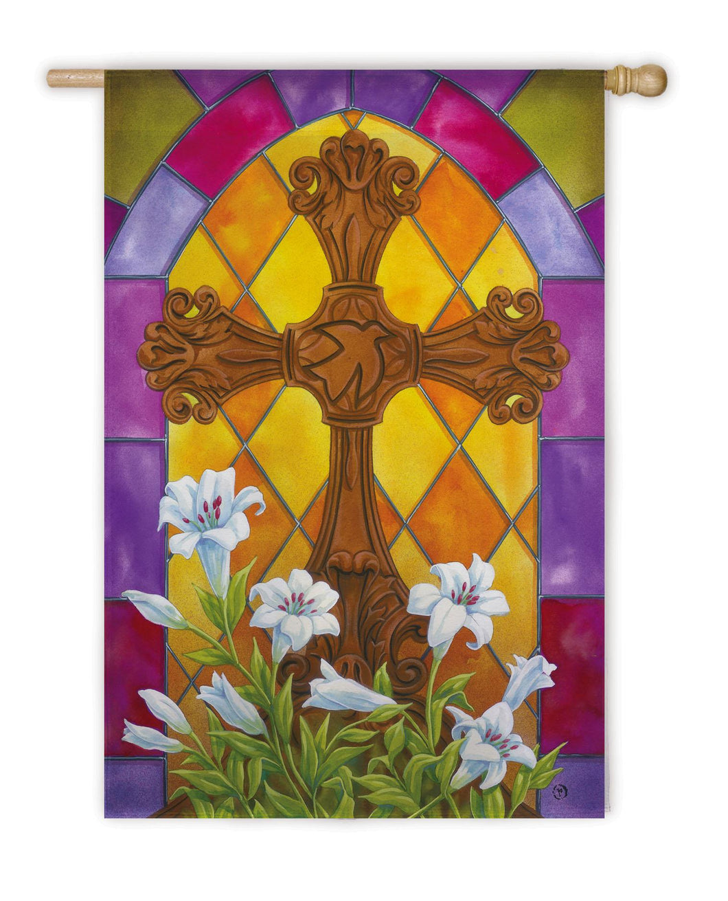 Stained Glass Cross House Flag