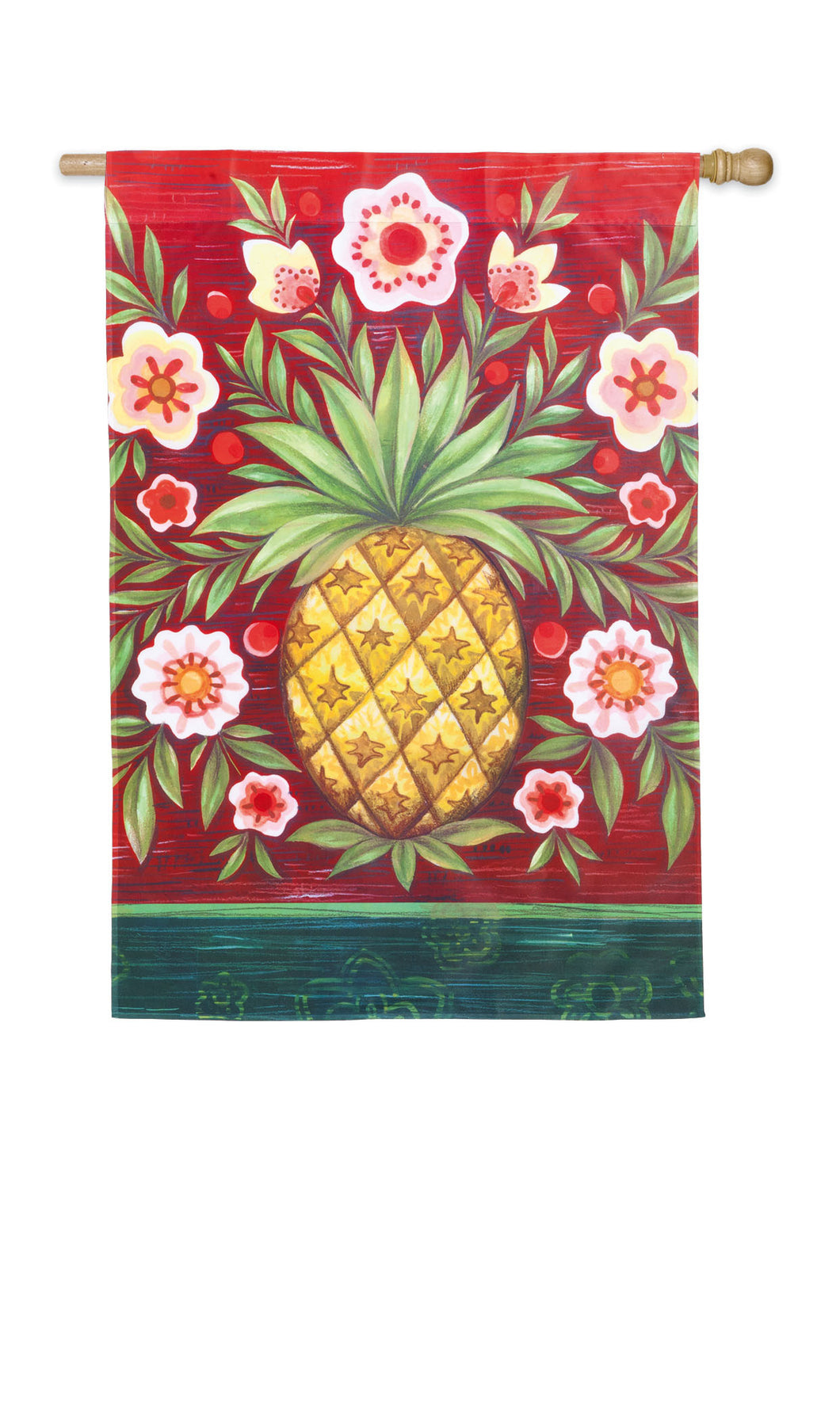 Pineapple and Flowers Silk Reflections House Flag