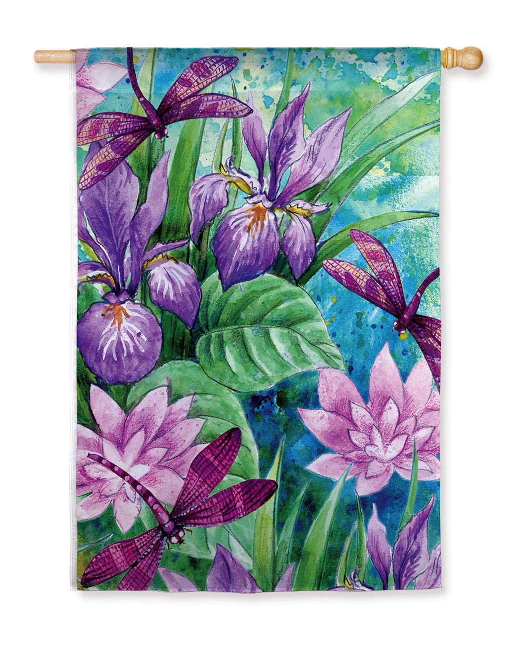 Irises & Dragonflies Silk Reflections House Flag