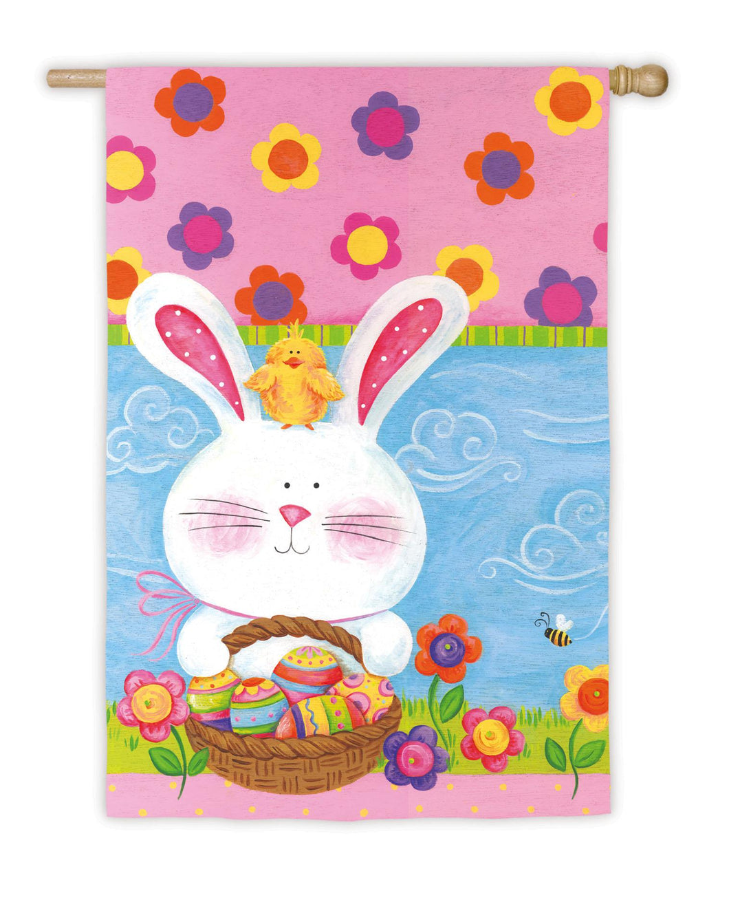Easter Bunny & Chick House Flag