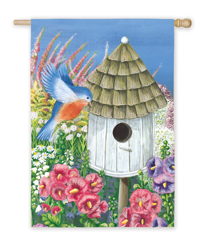 Birdhouse Garden House Flag