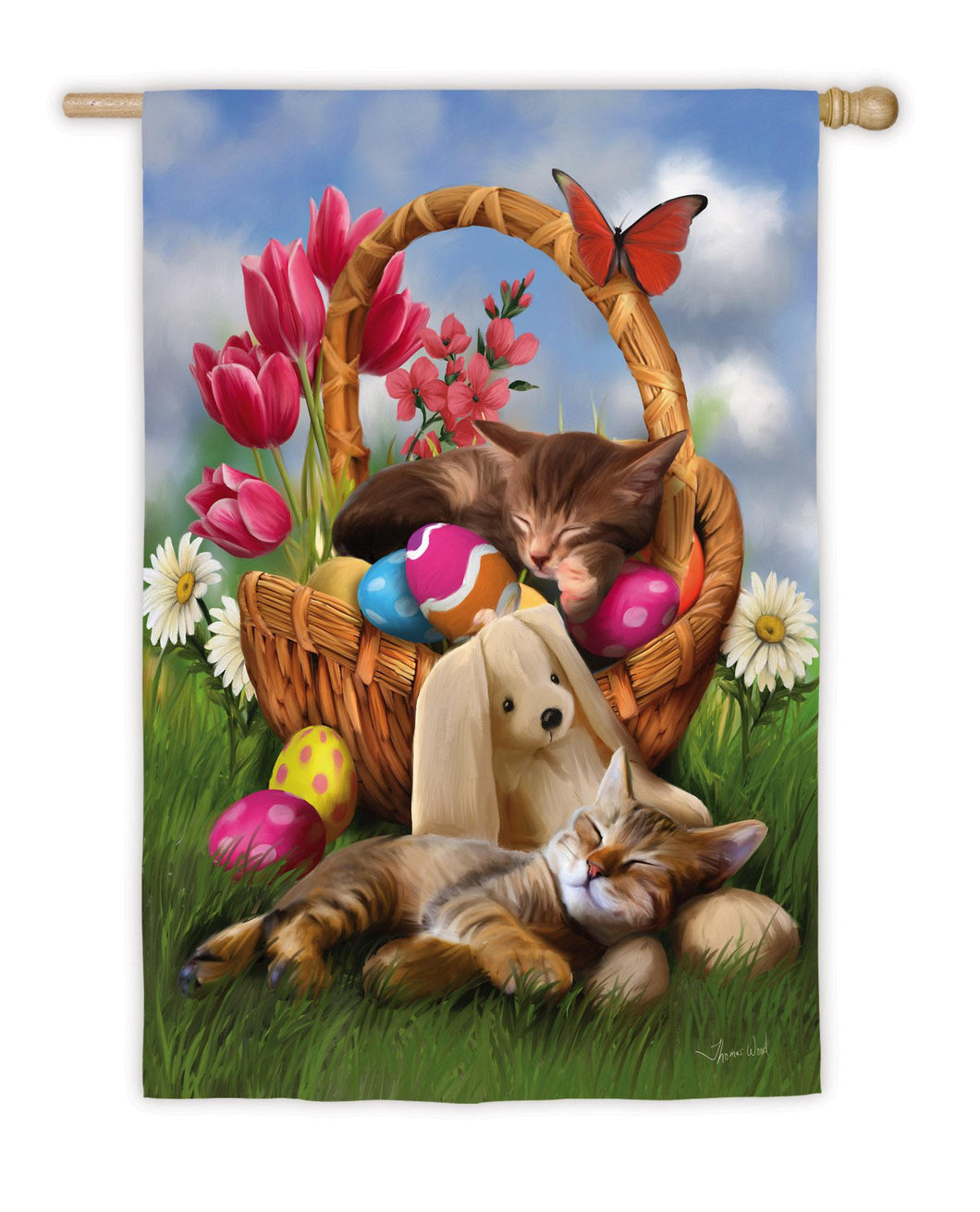 Hard Day with the Easter Bunny Satin House Flag