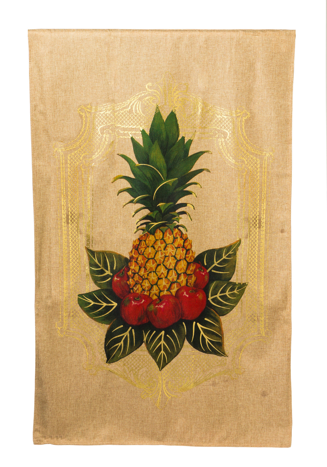 Pineapple Burlap House Flag