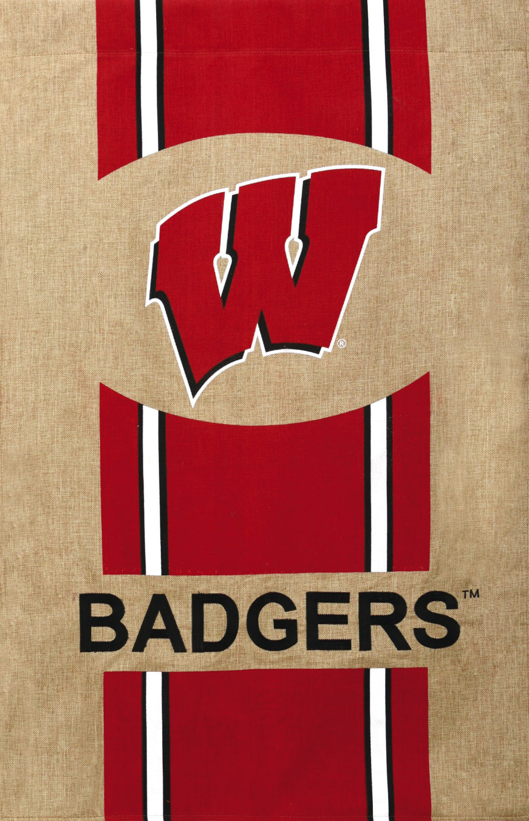Wisconsin Badgers Burlap House Flag