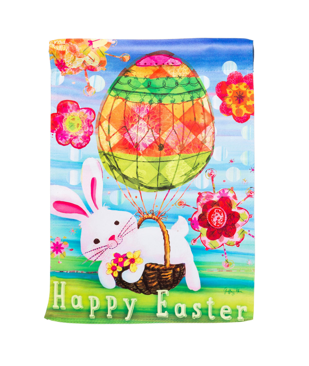 Easter Bunny Balloon Suede Garden Flag