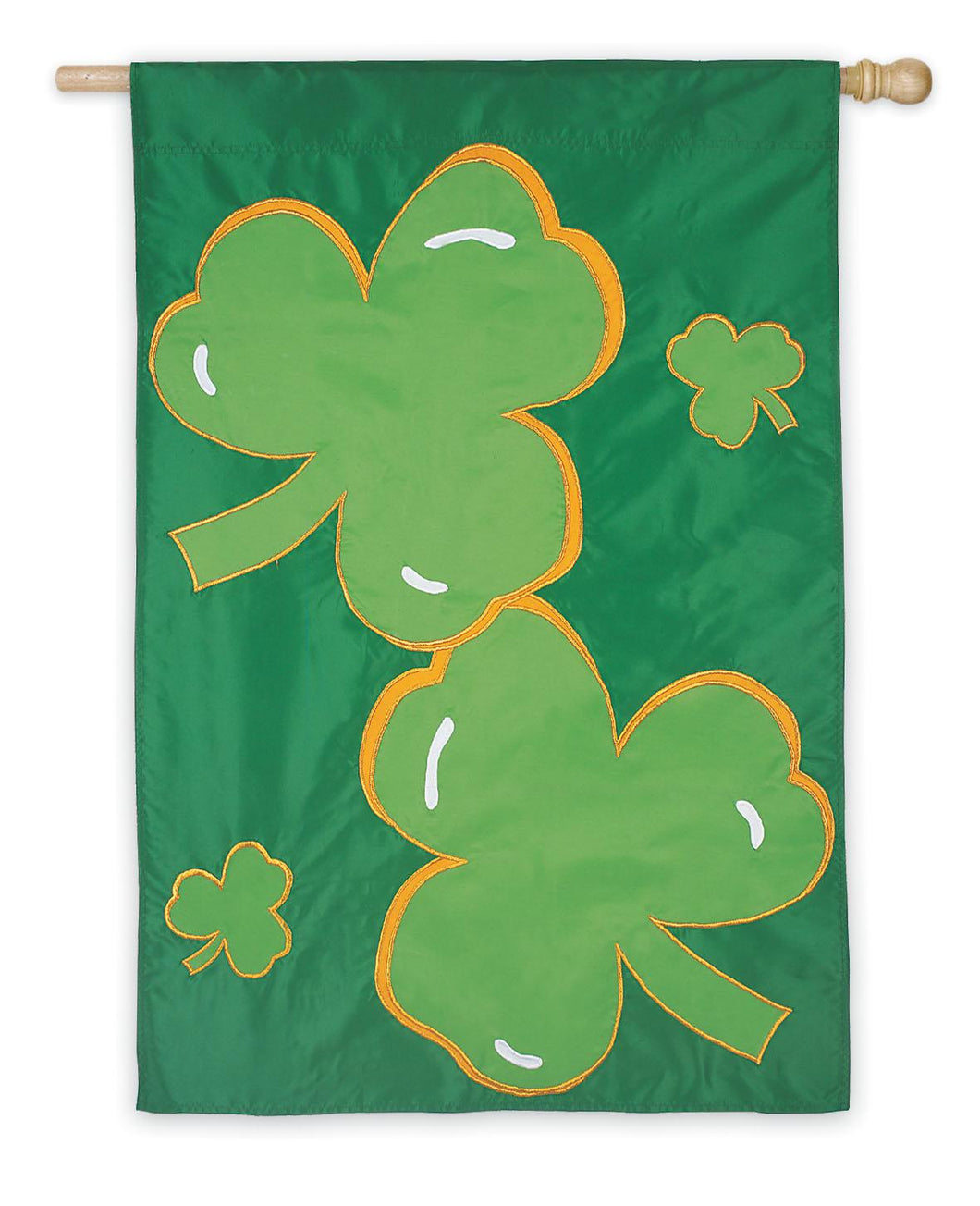 St. Pat's Clover Applique House Flag