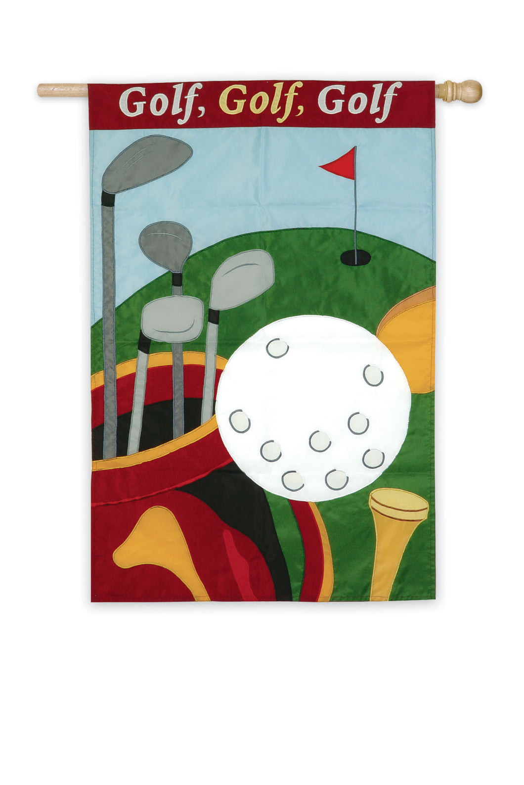 Golf, Golf, Golf Applique House Flag