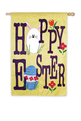 Hoppy Easter Applique House Flag
