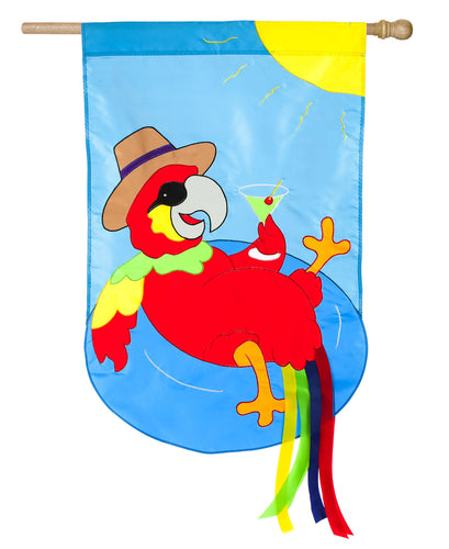 Parrot Summer Time  Applique House Flag