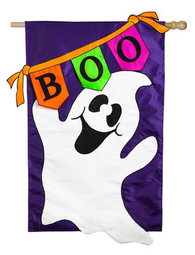 Boo Ghost Applique House Flag