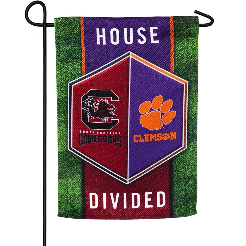 Clemson Univ / Univ of South Carolina House Divide Garden Flag
