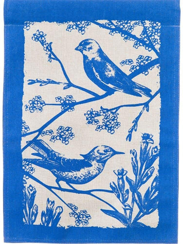 Birds In Bloom Burlap Garden Flag