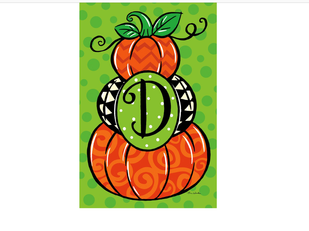 Pumpkin Stack Monogram D Garden Flag