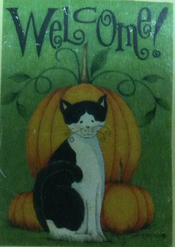 Autumn Cat & Pumpkin House Flag