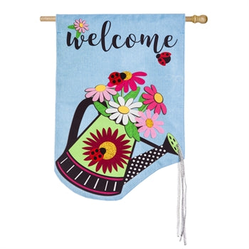 Watering Can Welcome House Flag