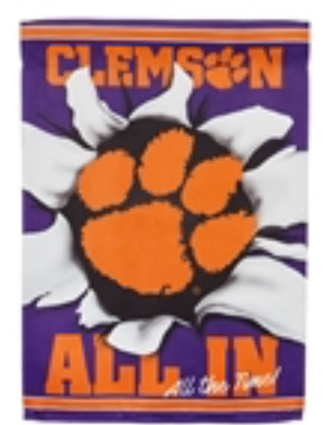 "Clemson ""All In"" Suede Garden Flag"
