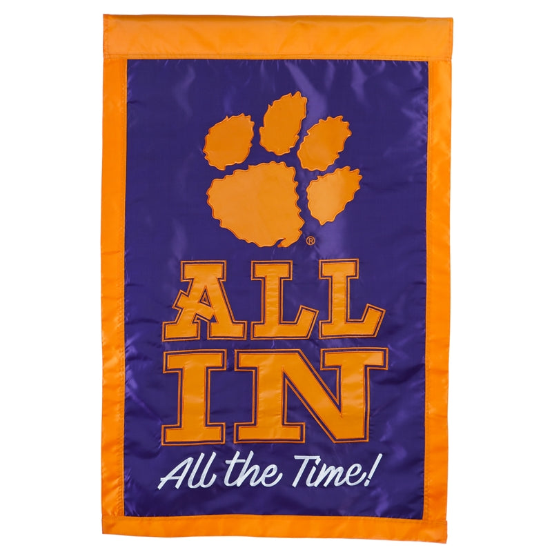 "Clemson ""All In"" Appliqué House Flag"