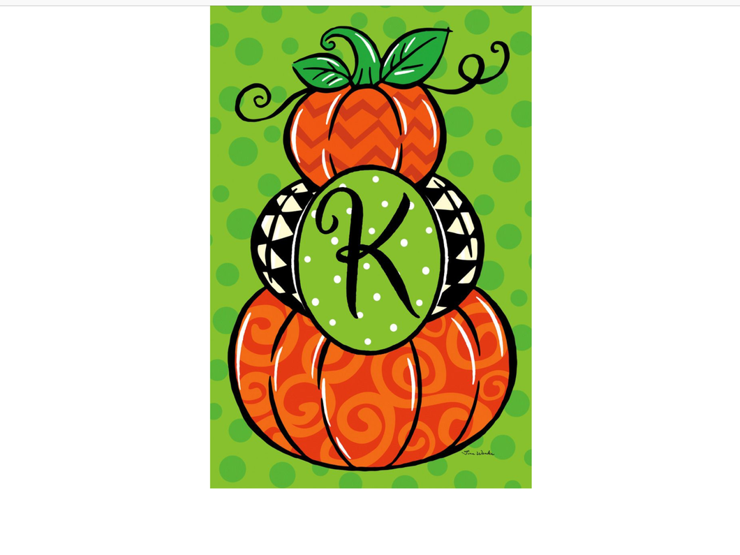 Pumpkin Stack Monogram K Garden Flag