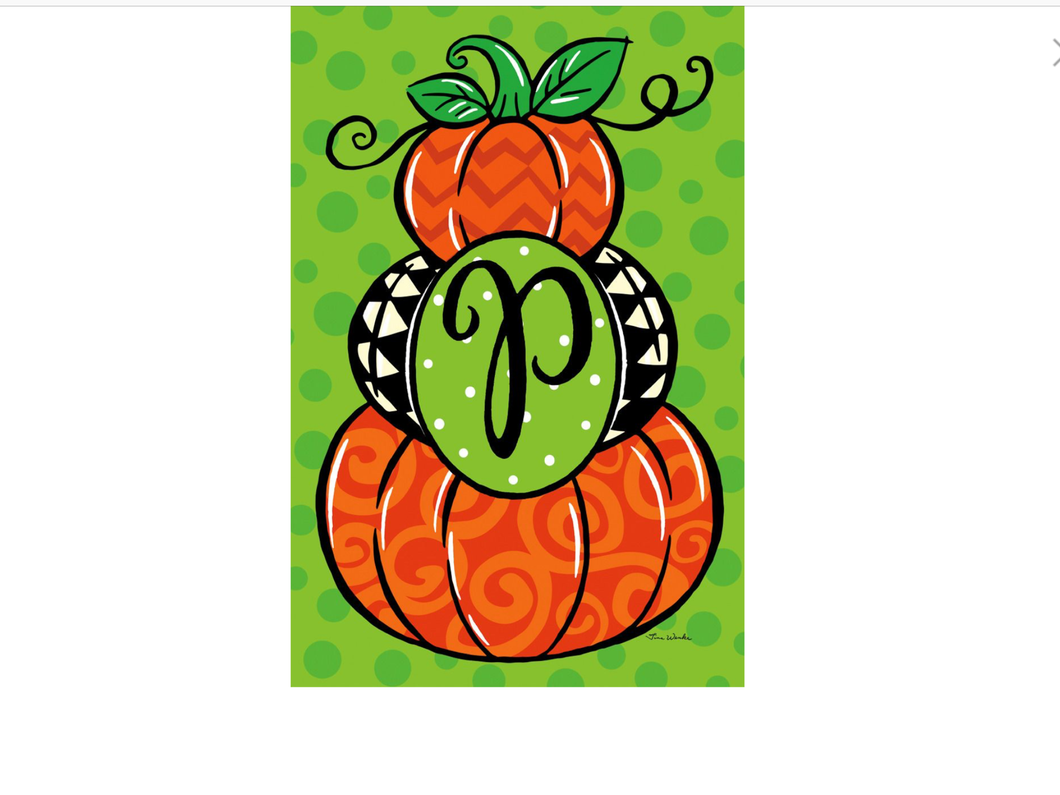 Pumpkin Stack Monogram P Garden Flag