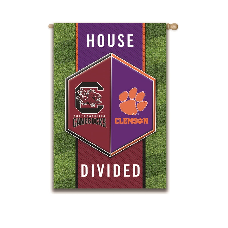 Clemson Univ / Univof South Carolina House Divide House Flag