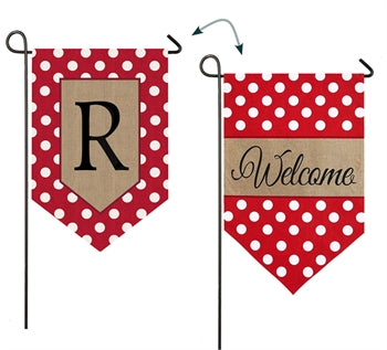 Polka-Dot Welcome Monogram R Burlap Garden Flag