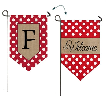 Polka-Dot Welcome Monogram F Burlap Garden Flag