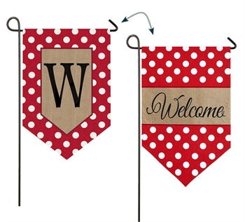 Polka-Dot Welcome Monogram W Burlap Garden Flag