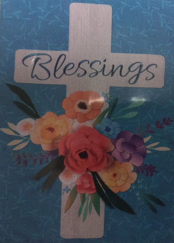 Blessings Floral Cross House Flag