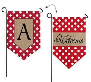 Polka-Dot Welcome Monogram A Burlap Garden Flag