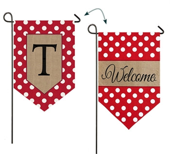 Polka-Dot Welcome Monogram T Burlap Garden Flag