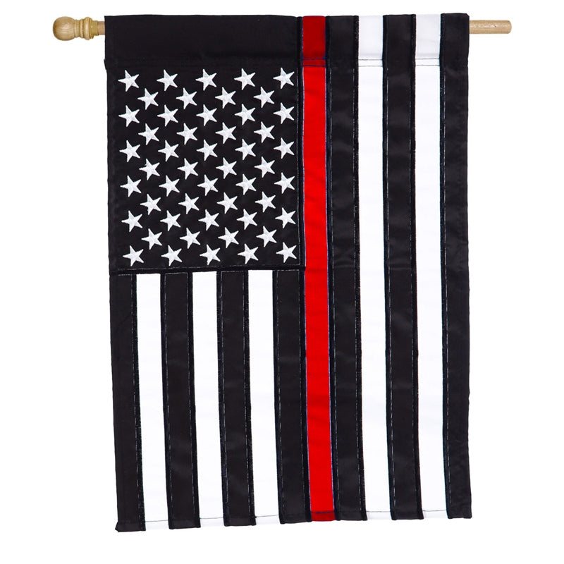 Thin Red Line House Appliqué Flag