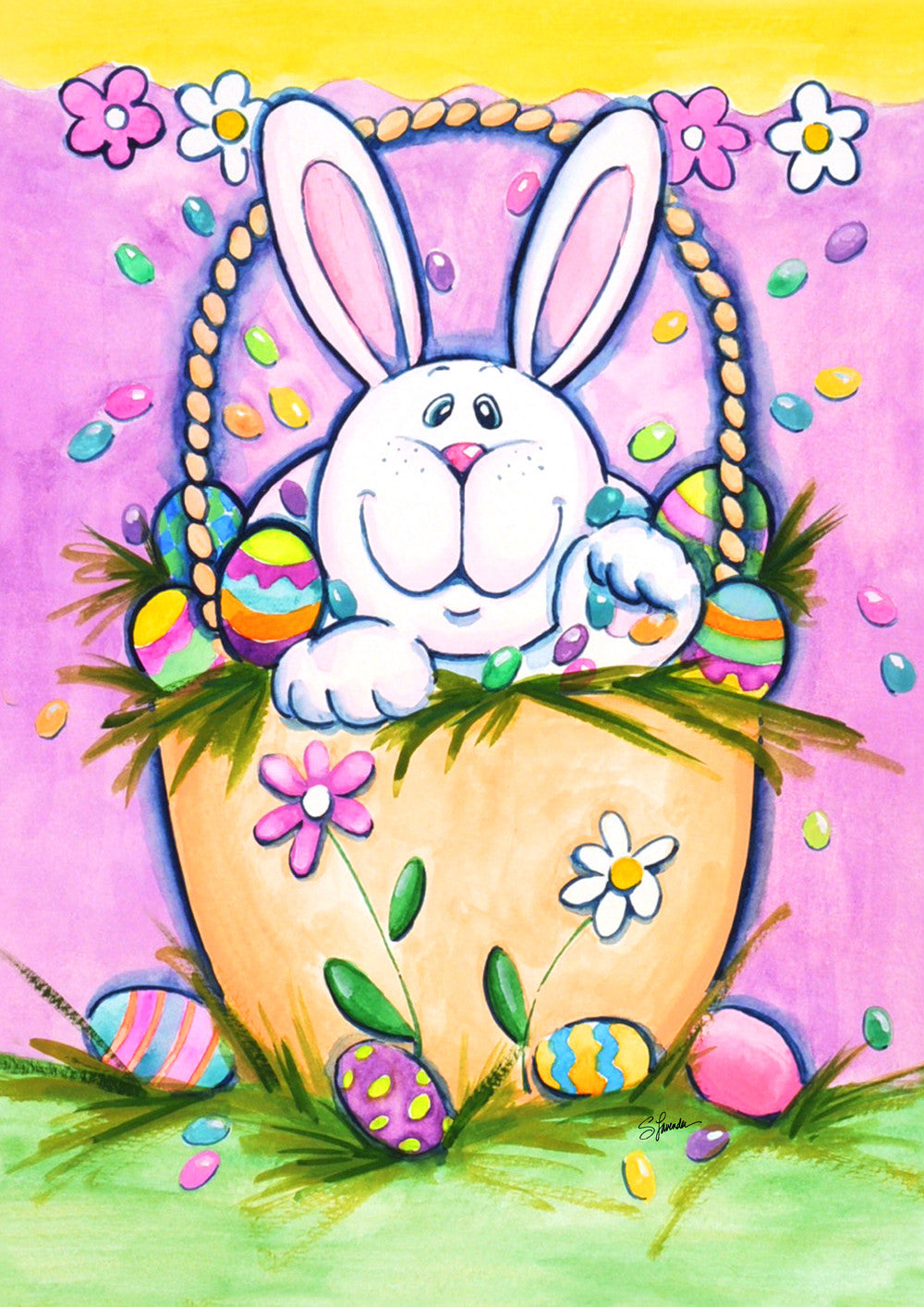 Bunny In A Basket Garden Flag