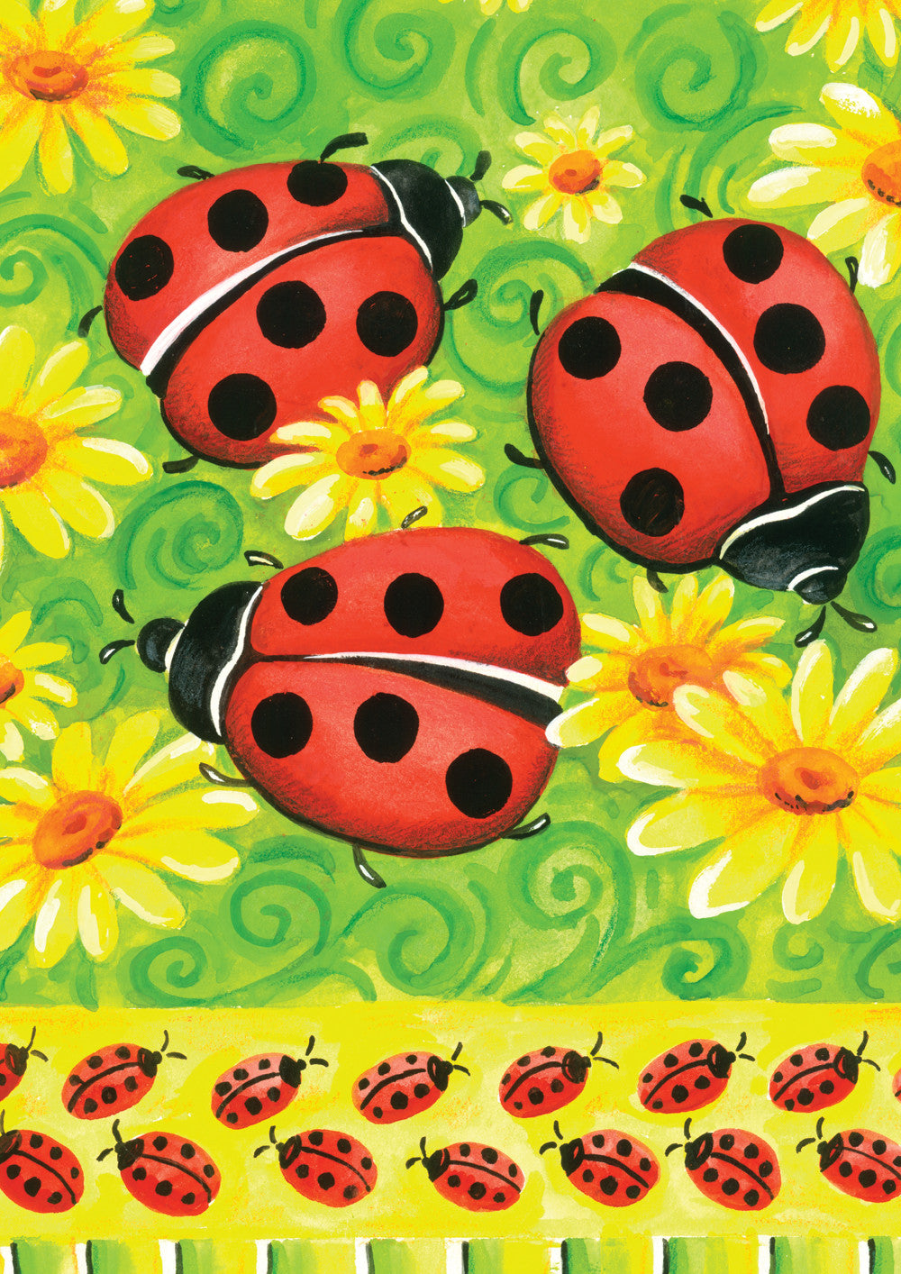 Ladybugs on Green House Flag