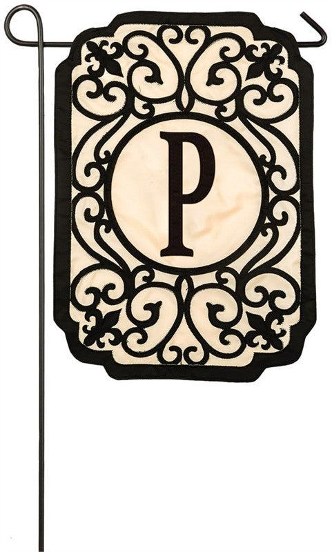 Filigree Monogram P Garden Appliqué Flag