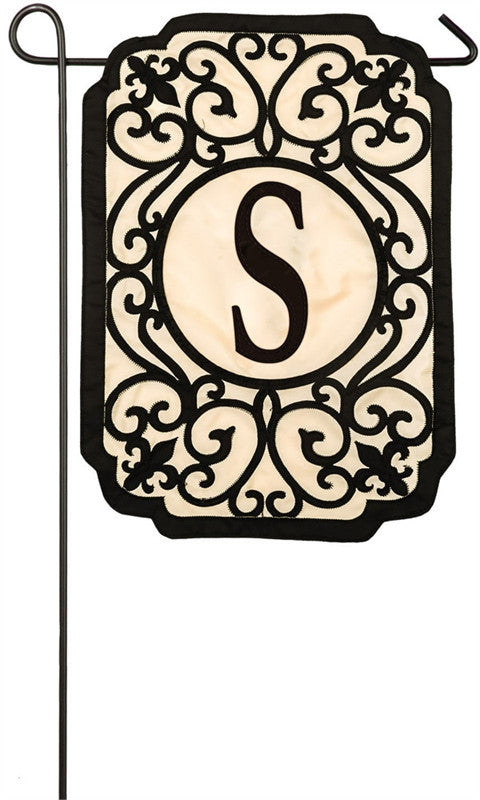 Filigree Monogram S Garden Appliqué Flag
