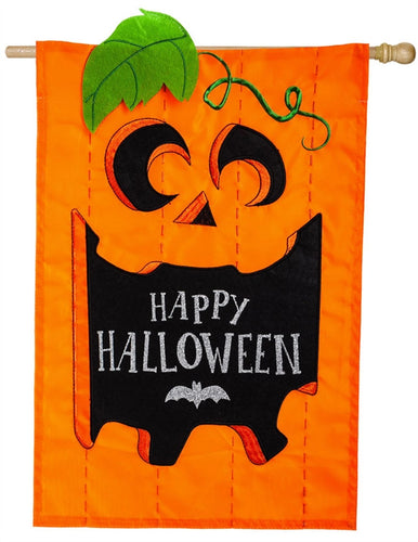 Happy Halloween Appliqué House Flag
