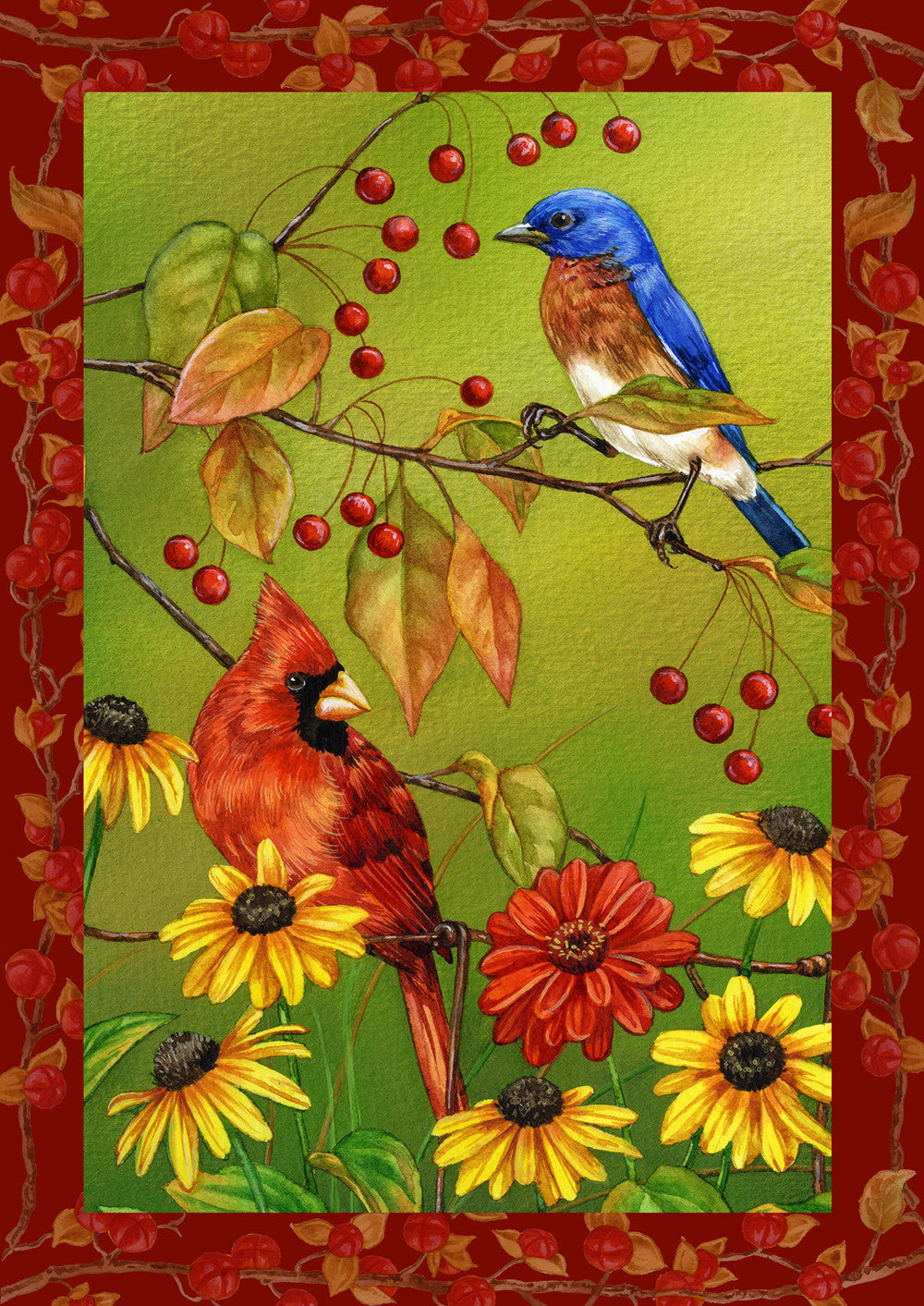 Birds & Berries House Flag