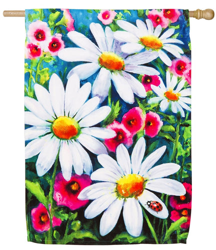 Big Daisies House Satin Flag
