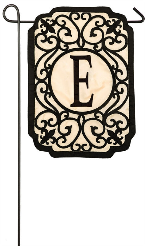 Filigree Monogram E Garden Appliqué Flag