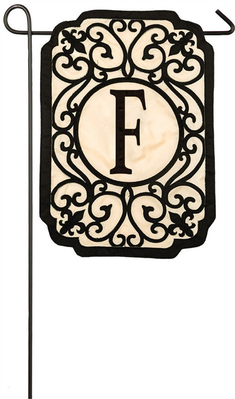 Filigree Monogram F Garden Appliqué Flag