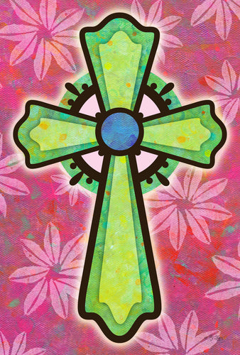 Colorful Cross House Flag