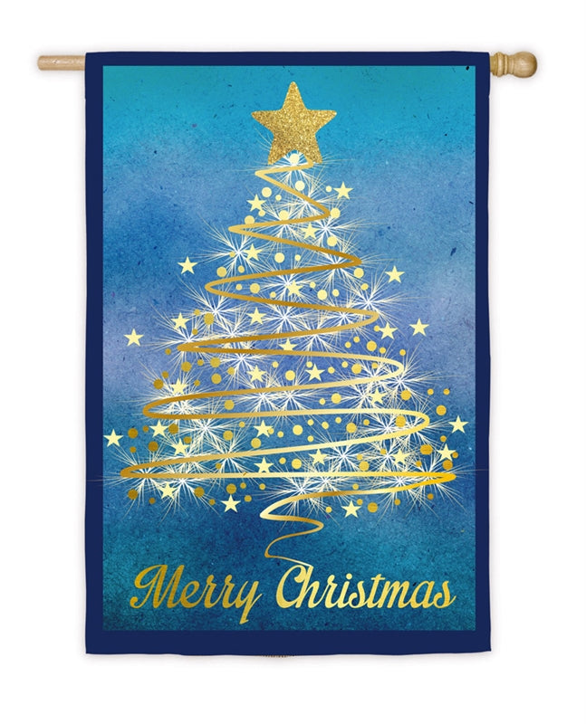 Gold Christmas Tree Suede House Flag