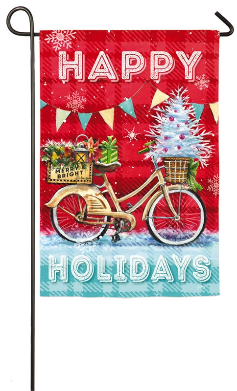 Christmas Party Bike Suede Garden Flag