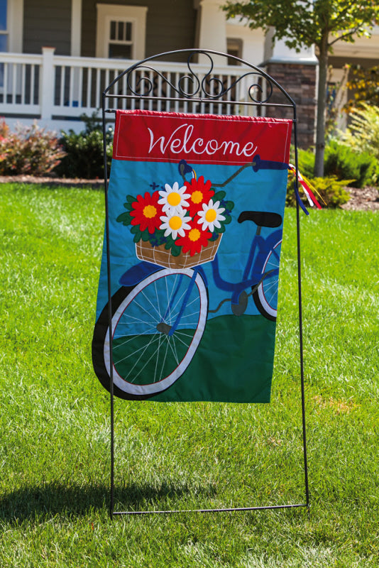 Welcome Bicycle Applique House Flag