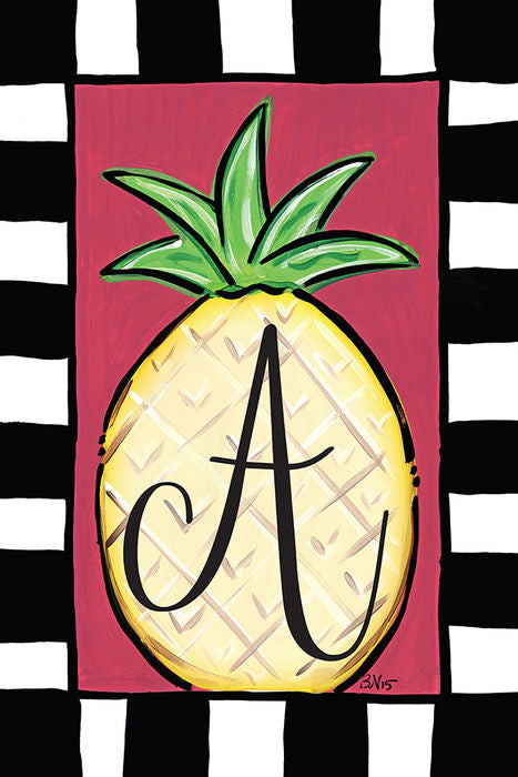 Pineapple Monogram A Garden Flag