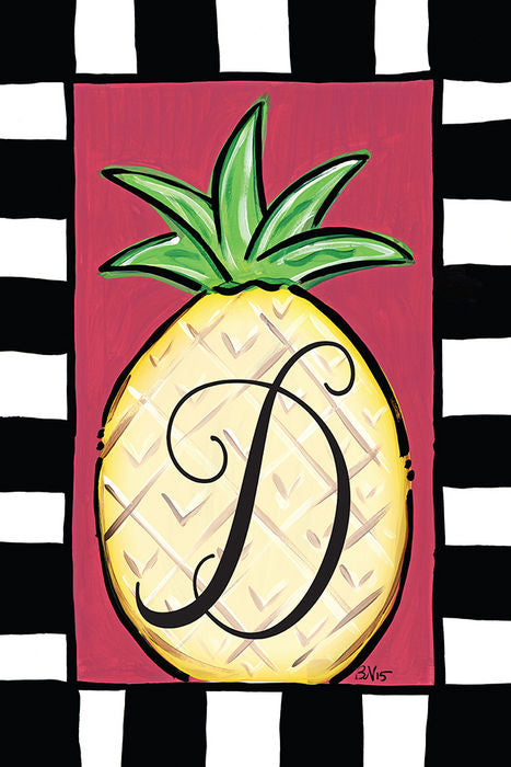 Pineapple Monogram D Garden Flag