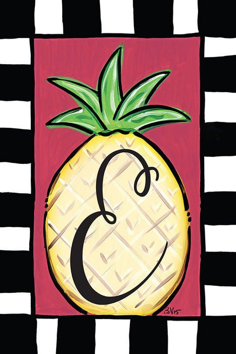 Pineapple Monogram E Garden Flag