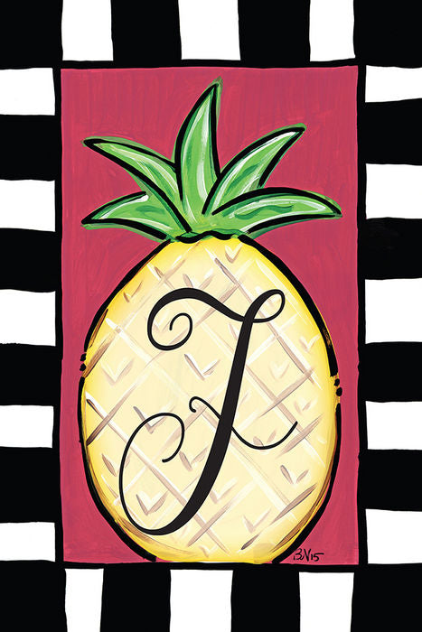 Pineapple Monogram F Garden Flag